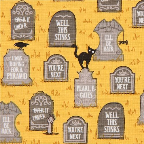 orange gravestone Halloween fabric by Ink & Arrow