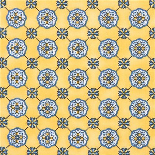 light orange-yellow Robert Kaufman flower shape fabric LA Provence