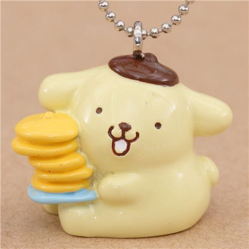 small Pompompurin holding pancakes charm cellphone strap