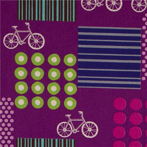 echino canvas designer fabric bicycle purple from Japan