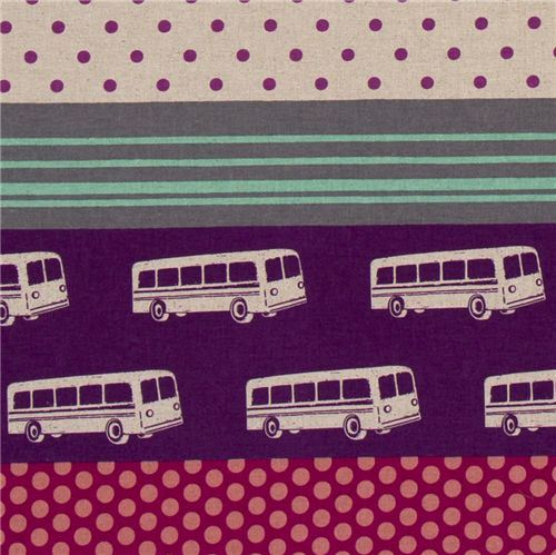 echino canvas designer fabric bus purple from Japan