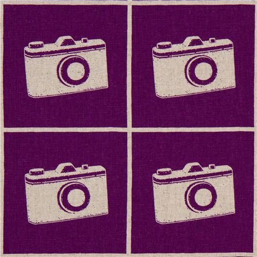 echino canvas designer fabric camera purple from Japan