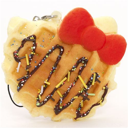 Hello Kitty waffle red bow squishy charm