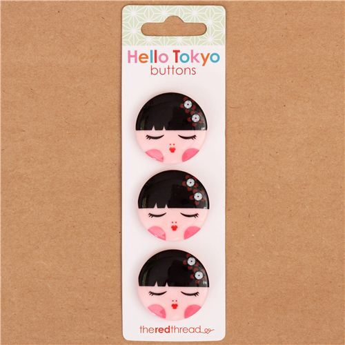 Kokeshi doll girl button set 3 pieces by Robert Kaufman USA