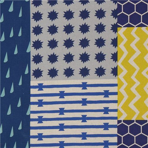 echino canvas fabric natural color blue stripe rectangle shape Element