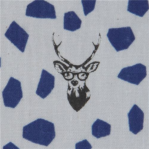 echino grey double gauze fabric with stag and dark blue shape