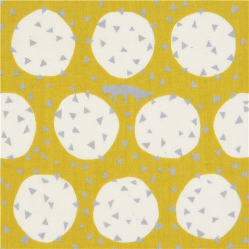 echino mustard yellow double gauze fabric with wold circle small triangle Den
