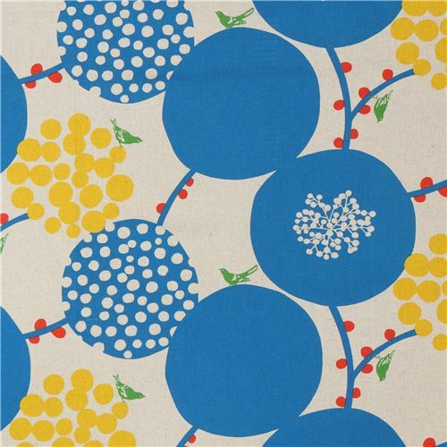 natural color echino canvas fabric with big blue circle Standard