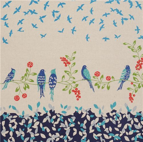 natural color navy blue echino canvas fabric with bird leaf Standard