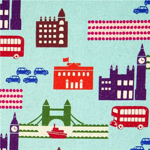 echino canvas designer fabric London blue  from Japan