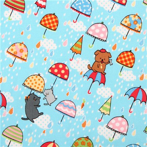 light blue cats & dogs rain oxford fabric by Kokka from Japan