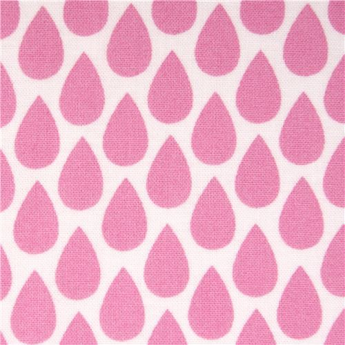 white pink raindrop fabric by Michael Miller USA