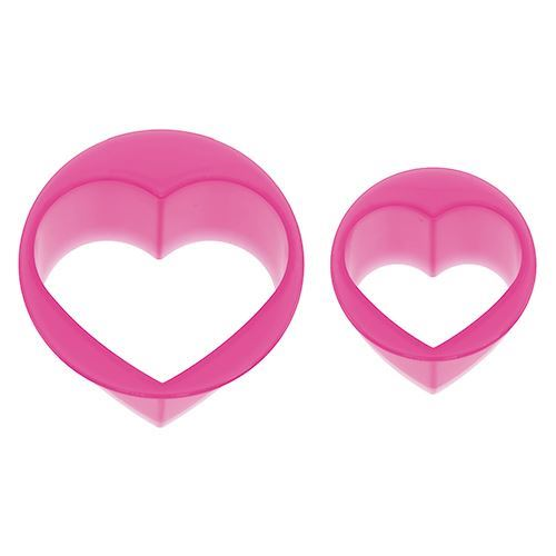 pink glitter heart shape Bento food cutters 2 pcs