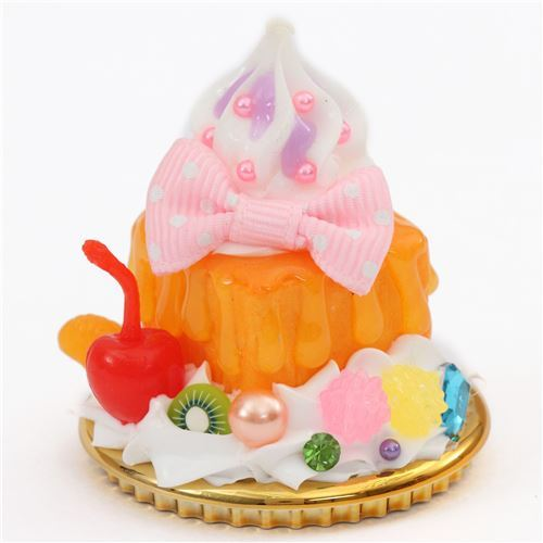 orange sauce pink bow cherry honey toast dessert figure from Japan