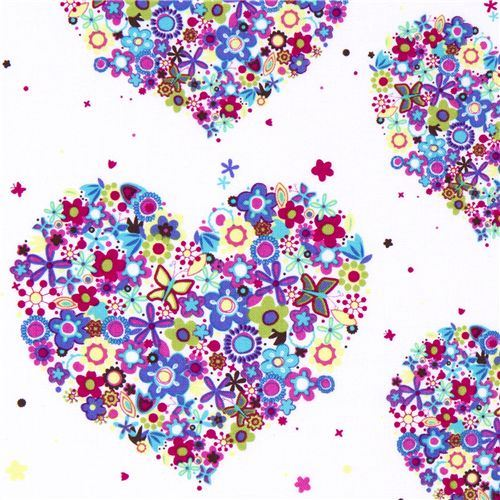 Michael Miller flower fabric colourful heart florets