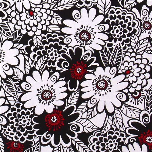 black-white Michael Miller fabric with big flowers