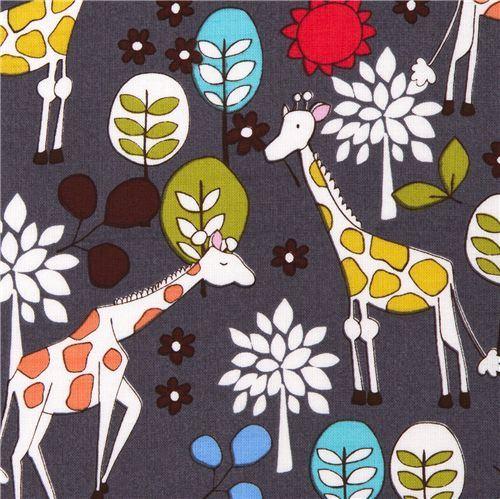 grey Michael Miller fabric Giraffe Garden