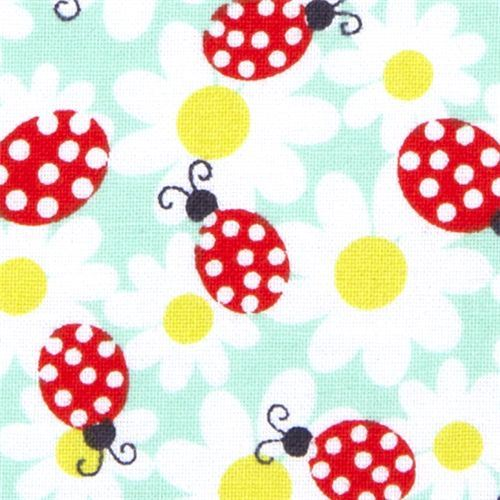 turquoise Michael Miller fabric daisy lady birds