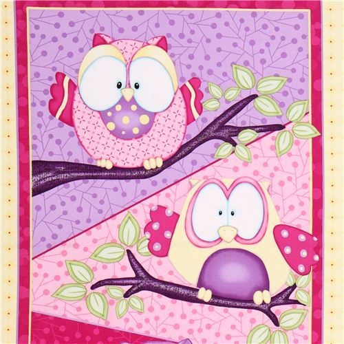 Whoo Me? Cute colourful owl panel fabric.