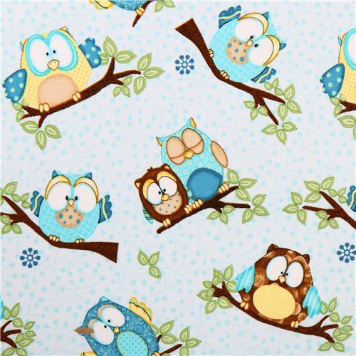 Whoo Me? Our lovely light blue owl forest fabric by Henry Glass