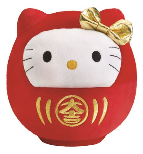 Bubbly Day Hello Kitty Daruma doll plush toy comes with the collector's edition