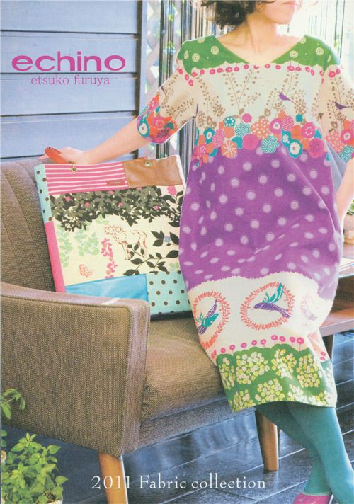 Dress and bag with Echino fabric on the catalogue cover