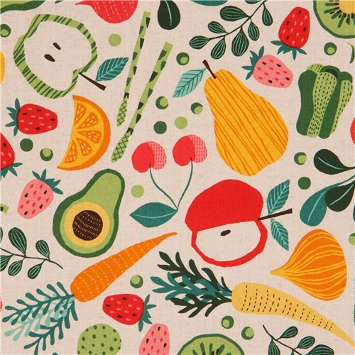 grey-brown canvas fabric cute colorful fruit vegetable from Japan