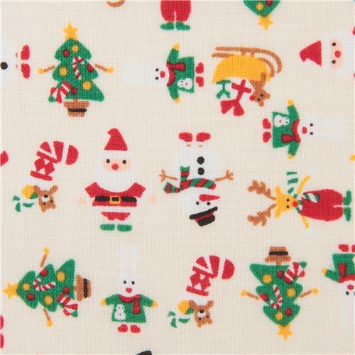 cream cute Christmas santa reindeer snowman fabric