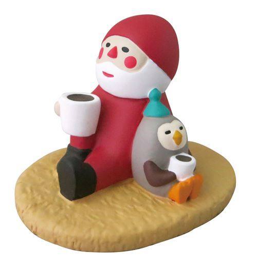 Santa Claus and owl with beverages Christmas figurine Japan