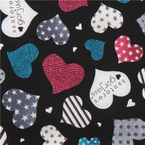 black fabric grey blue heart Gorjuss Quilting Treasures