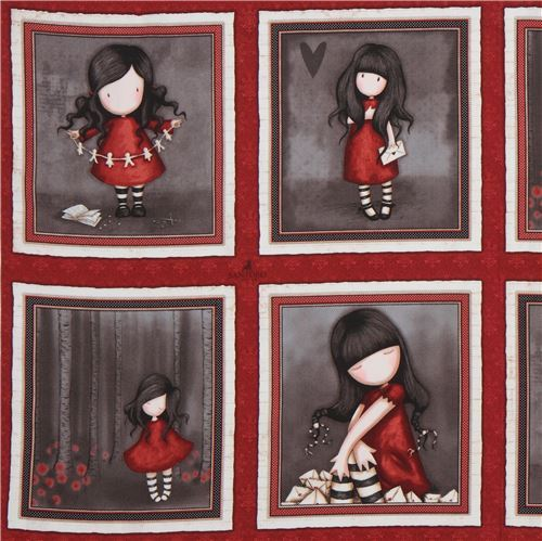 dark red fabric cute children rectangle Gorjuss Quilting Treasures