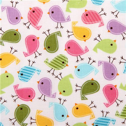 white bird fabric Urban Zoologie Minis with colourful birds by Robert Kaufman