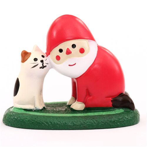 Santa Claus and cat Christmas figurine Japan