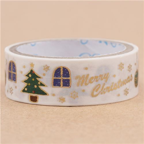 white Christmas tree present paper tape gold metallic embellishment from Japan