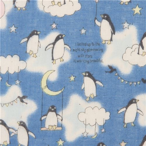 blue double gauze fabric with penguins and clouds