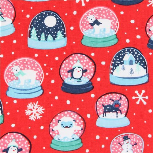 red Ink & Arrow fabric Christmas fabric with snow globes