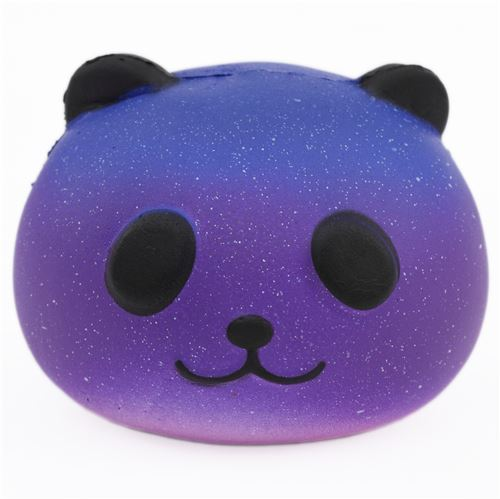 dark blue purple galaxy panda head animal squishy