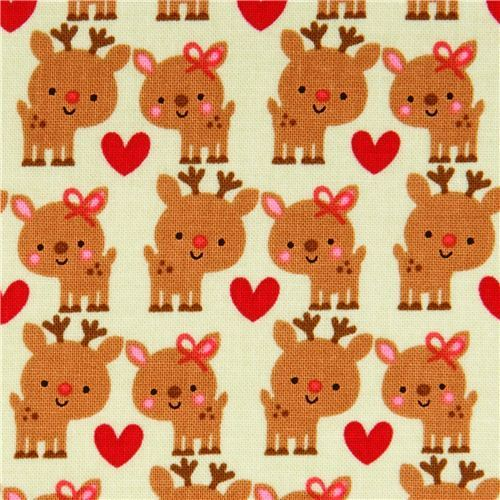 pale green Riley Blake reindeer Xmas fabric 'Santa Express'