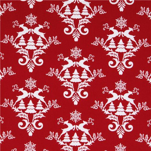 red Norwegian reindeer snow Christmas fabric Winter Essentials III