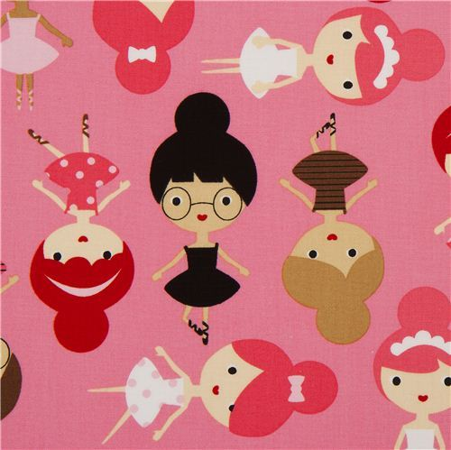 pink ballerina girls ballet fabric Robert Kaufman USA