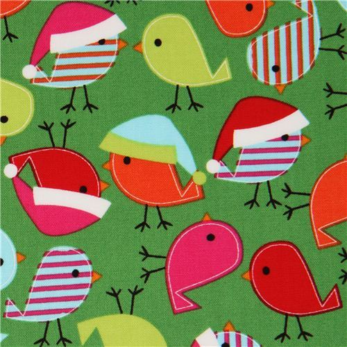 green Christmas bird fabric Robert Kaufman