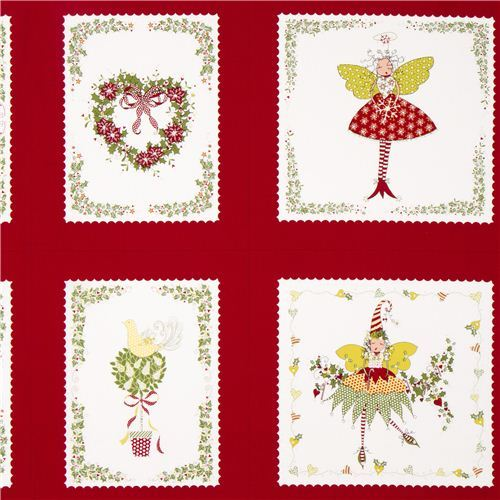 red patchwork pixies fairies Christmas fabric Michael Miller