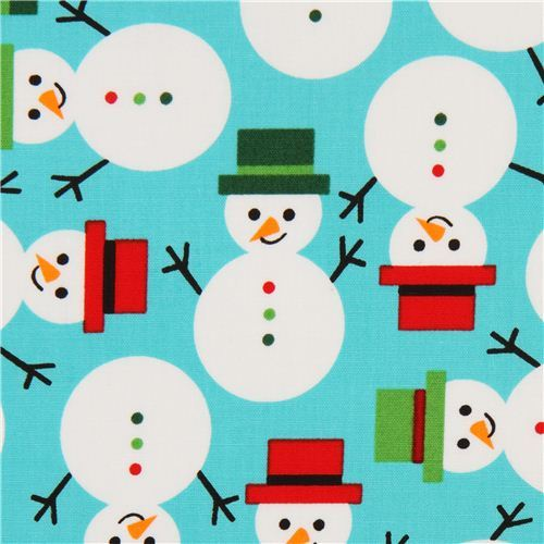 turquoise Christmas snowman fabric by Robert Kaufman