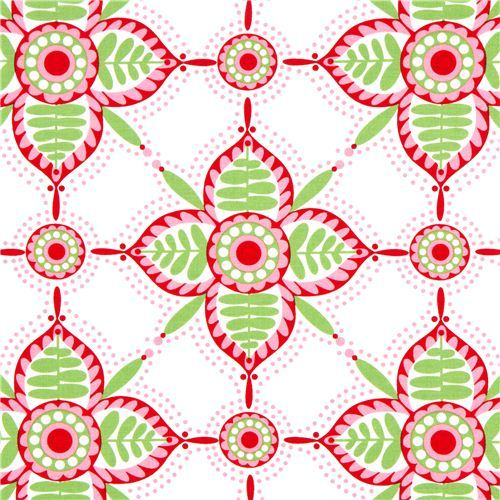 white Michael Miller Christmas fabric with flowers