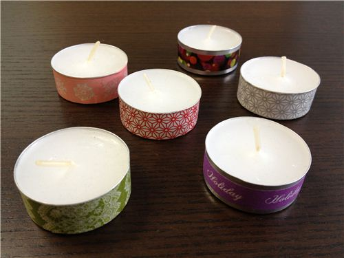 Some pieces of colorful Washi Tape will give your tea lights a special look