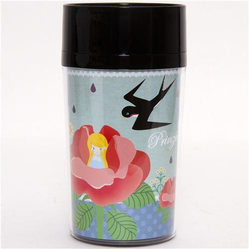 turquoise coffee tumbler with Tom Thumb