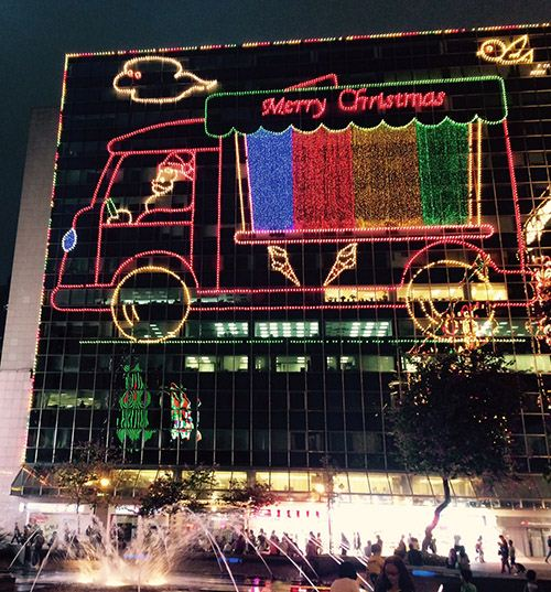 Funny Xmas lights at New Mandarin Plaza with Santa's ice cream truck.