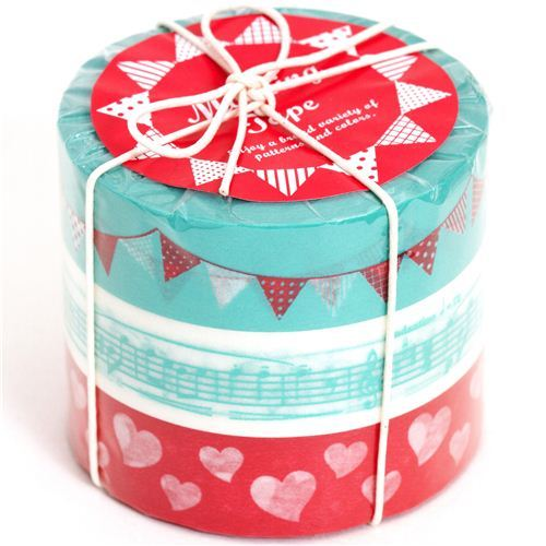 Washi Masking Deco Tape set 3pcs garland music heart
