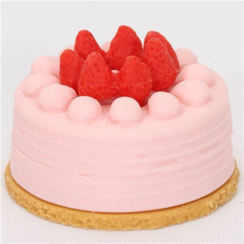 pink strawberry cake eraser from Japan by Iwako