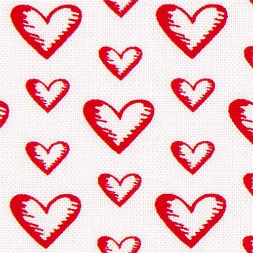 white Michael Miller fabric with red hearts